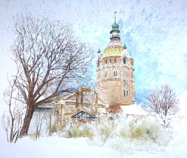 mag. marcus stiehl_aquarell_wasserturm favoriten_wien_vienna_watercolour
