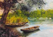 mag. marcus stiehl_aquarell_boote in der lobau_aquarell_watercolour